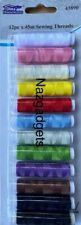 Sewing Tread Polyester 12 Assorted Colours in one pack