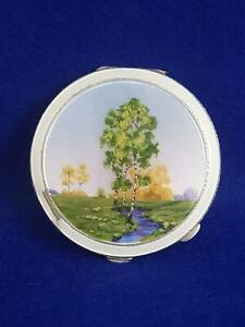 Terrific HM B'ham 1949 Sterling Silver Compact w Enamelled Countryside Scene 92g