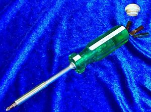 Vintage S-K 73514 Green & White Handle Magnetic Tip Screwdriver With 4 bits