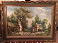 ORIGINAL OIL PAINTING CABBETTI Country Farm Landscape RARE Possibly Mid-century
