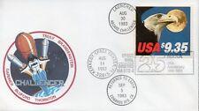 USA 1983 Folder navicella spaziale Challenger con cosmogramma cert Bolaffi N1039
