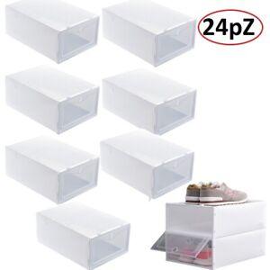 24X Scatole per Scarpe Impilabile Scatola Immagazzinaggio Di Scarpe in Plastica