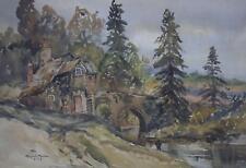 Millhouse on a River Cornish Landscape Watercolour Margaret Morcom 1961