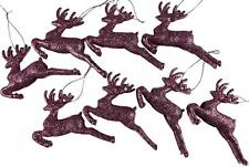 Set Of 8 ICE PINK Glitter Reindeer Christmas Tree Hanging Ornament Decorations