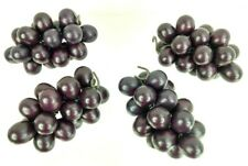 "4 Artificial Bunches Of Purple Grapes 5"" Bunches Wire Stems"