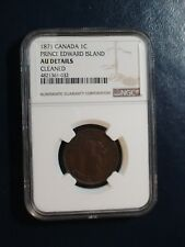 1871 Canada LARGE CENT NGC AU PRINCE EDWARD ISLAND 1C Coin PRICED TO SELL NOW!