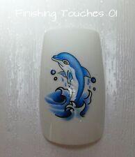 Nail Art Water Transfer- Dolphin Decal #354 C012 Sticker Wrap Shiny Blue Sea
