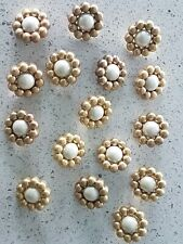 Brand New Lot x12 Large Gold Pearl Centre 31mm Flower Vintage Sewing Buttons