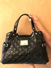 NEW Authentic Versace Iconic Patent Leather Shoulder Bag Tote Handbag (Black)