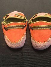 SUPER CUTE newborn 0-3m TEVA baby CRIB slipper shoes ORANGE tan adjustable