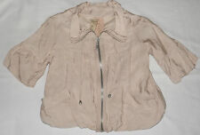 "LADIES SHORT BEIGE PINK BIKER BLOUSON STYLE ? JACKET UK 8 EUR 34 CHEST 34"" 86cm"