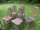 Depression Era 30's- 40-'s solid wooden Kitchen chairs SIX