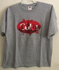 Coke Grey T-Shirt Men's XL Red Oval Logo with Bubbles