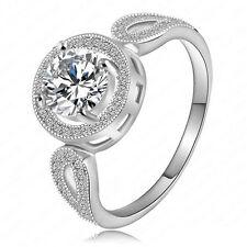 Fashion Women 925 Silver White Zircon Rings Jewelry Engagement Size 8