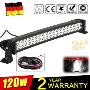"""24"""" 120W Barre à LED 4x4 phare de travail Light Bar Rampe de Toit Bateau Camion"""