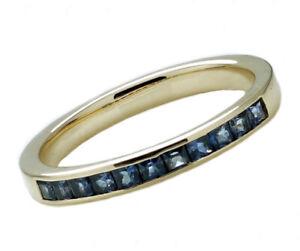 R129 Genuine 9K Gold Natural Princess-cut Sapphire Half-eternity Channel Ring