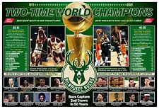 Milwaukee Bucks 2-Time Nba Champs: 1971 and 2021 19�x13� Commemorative Poster