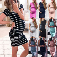 Pregnancy Maternity Sleeveless Summer Wrap Dress Top Plus Casual Party Clothes