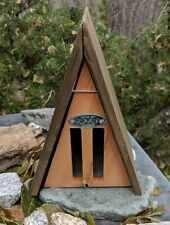 Natural Wood A-Frame Wild on Wildlife Butterfly House - Easy Open for Cleaning.