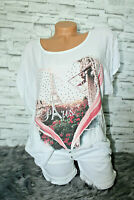 Italy New Collection Herz Strass Oversized T-Shirt weiß Gr.36 38 40 42 blogger
