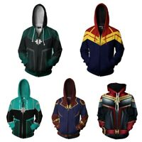 Captain Marvel Carol Danvers Hoodie 3D Print Sweatshirt Cosplay Zip Coat Jacket