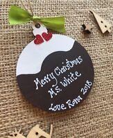 Thank You Teacher Christmas Pudding Personalised Nursery Childminder Gift