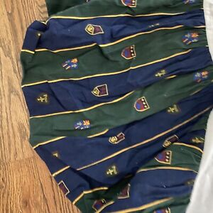 Ralph Lauren Vtg Polo Shield Crest Dust Ruffle Full Size Navy Hunter Green Skirt