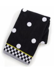 """Mackenzie Childs DOTTY Polka Dot w/ Courtly Check Trim 19""""x31"""" HAND TOWELm21-au"""