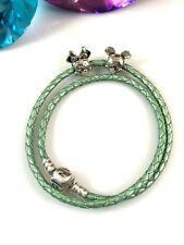 PANDORA GREEN BRAIDED DOUBLE-LEATHER STERLING MICKEY MINNIE MOUSE CHARM BRACELET