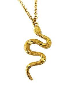 Gold Snake Pendant Necklace Chain Gothic Gift Unisex Python Animal Jewellery UK