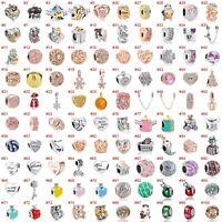 European Silver Xmas Charms Hearts Beads CZ Pendant Fit 925 Sterling Bracelets
