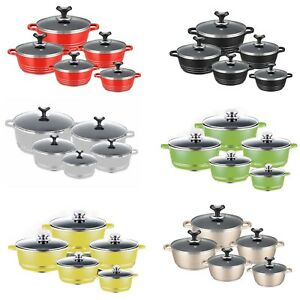 5 Pcs Non-Stick Cooking Pot Die-cast Casserole Cookware Set Induction Bottom