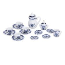 15Pcs Dollhouse Miniature Dining Ware Blue Porcelain Tea Set Dish Plate Set