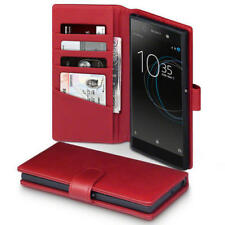 Luxus echt Leder Wallet Case in rot+Full Cover Sony Xperia XA1 Ultra Panzerglas