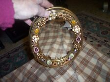 """Vintage Costume Jewelry Embellished Plastic Ornate Mirror Wall Hanging 9"""" Vg !"""