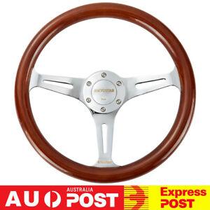 Universal 14'' Classic Wooden Steering Wheel 350mm Wood Grain Trim Chrome Spoke