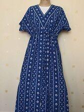 Full Length Cotton V Neck Short Sleeve Dresses for Women