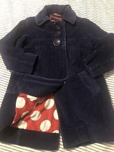 MINI BODEN Corduroy Long Dress Coat Navy Blue Girls Size 5/6 Years