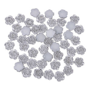 100x Silver RESIN FLOWER CABOCHON Flatback Embellishment Scrapbook Craft DIY
