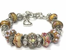 European Style Charm Bracelet with Murano Glass Beads, Toggle Clasp+Stopper