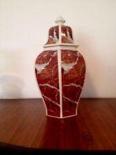 Potiche vaso vintage h. max cm 36 ca decoro a finto marmo rosso
