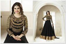 Diwali Indian Ethnic Pakistani Work Georgette Black UnStitch Salwar Dress Emb