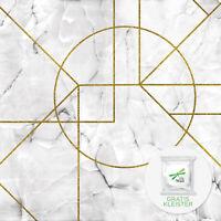 Vliestapete Fototapete Tapete Vlies Marmor Geometrisch Gold Struktur FW13722VE