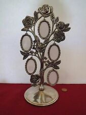 """Siver Metal Rose Design Photo Picture Tree w/ 5 Frames (10 Pictures) 2"""" Ovals"""