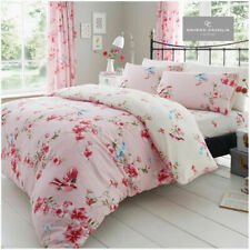 Birdie Blossom Single Duvet Cover Set Pink Birds Floral Bedding - 2 in 1 Design