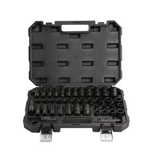 "3/8"" Dr 6 Point SAE & Metric Standard & Deep Impact Socket Tool Set T0950 42pc"