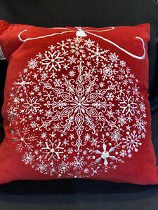 """Devi Designs Throw Pillow-Xmas-Red Velvet-White Emb.-Cotton/Feathers-17"""" Square"""