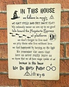 Harry Potter Sign In This House We do Magic Harry Potter Quotes Gift Idea