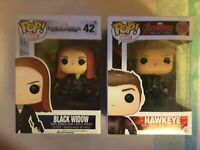 Funko Pop Vinyl Marvel Black Widow #42 Vaulted Edition plus Hawkeye #70 avengers