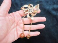 Authentic Vintage 1940's RARE Atomic Rhinestone w/Dangle Ball Brooch